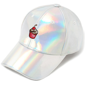 [헤이터] Cream Cake Embroidery Cap- Shiny Holographic, 스냅 볼캡 - 풋셀스토어