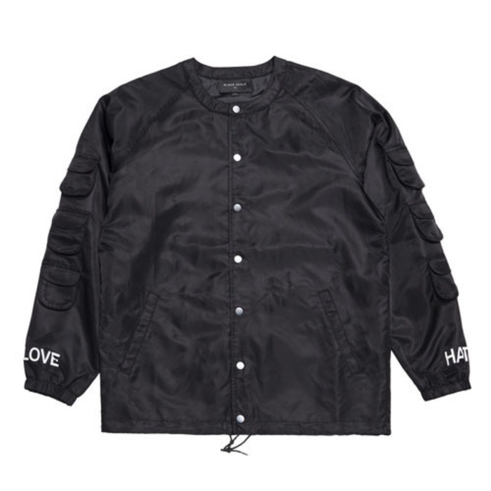 [블랙스케일]BLACKSCALE SCOOP NECK COACHES JACKET BLACK - 풋셀스토어