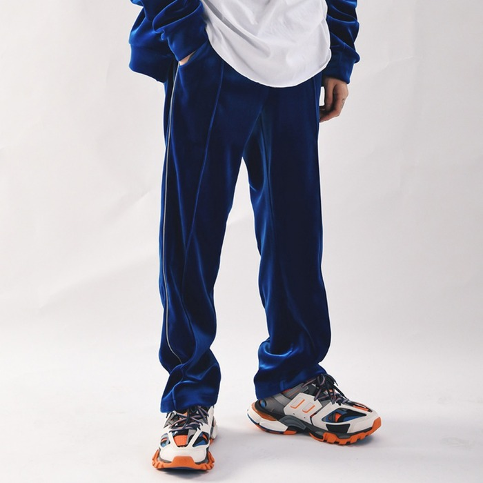 [COUPDEGRACE] REFLECT VELVET TRACK PANTS (ROYAL BLUE), 쿠드그라스 - 풋셀스토어