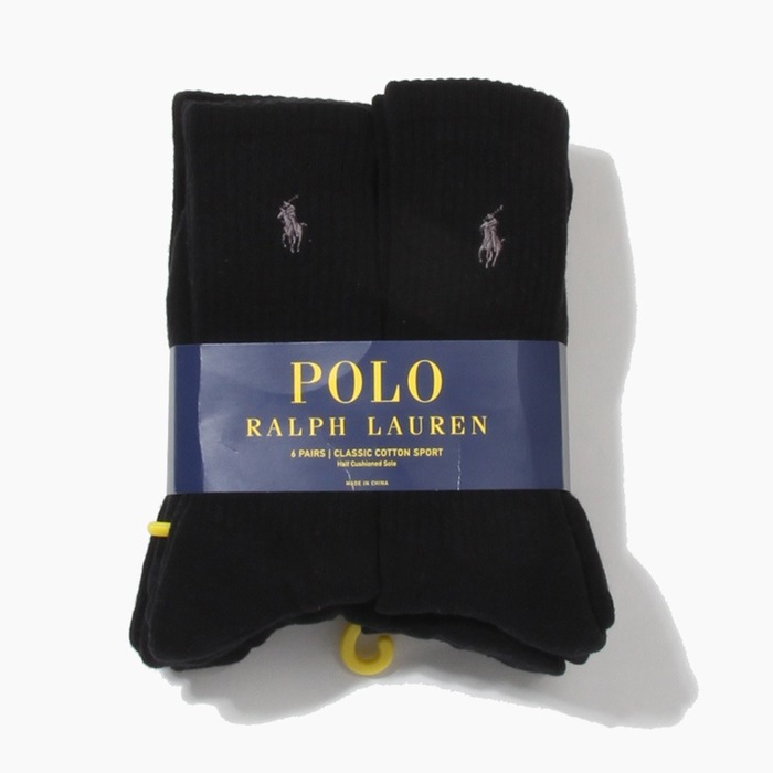 [폴로] POLO classic cotton sports Socks 6pack Black/Charcoal, 양말 - 풋셀스토어