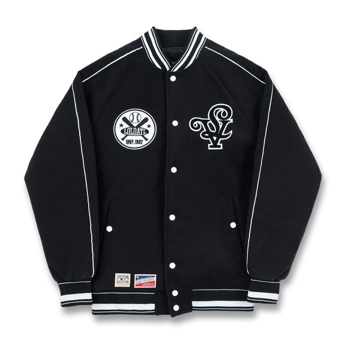 롤로, [LOLO] LOYALTY BASEBALL JACKET (Midnight Black) - 풋셀스토어