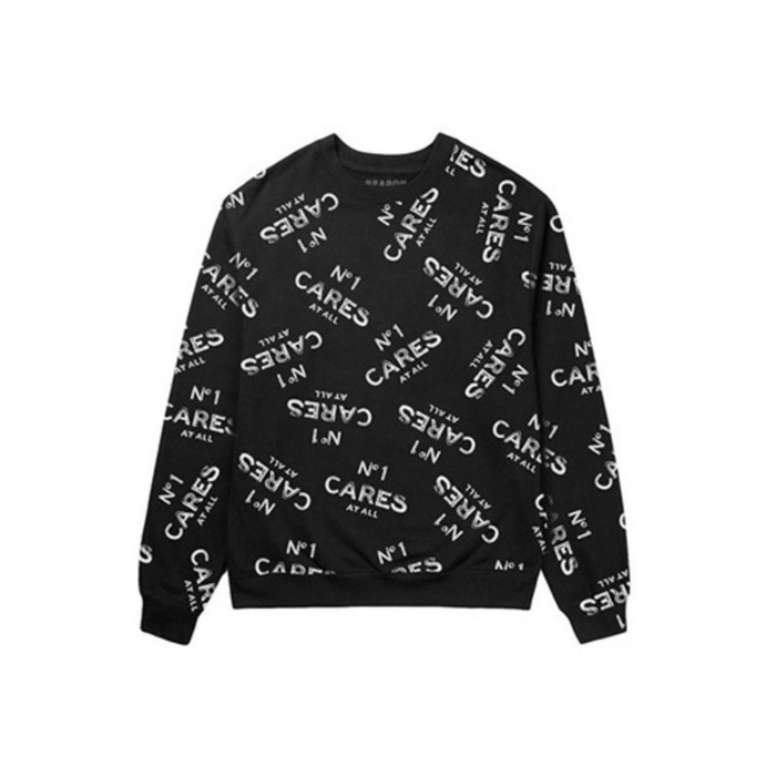 [유에스에이머천다이징]U.S.A MERCHANDISING REASON No1 Cares All Over Crewneck (BLACK) - 풋셀스토어