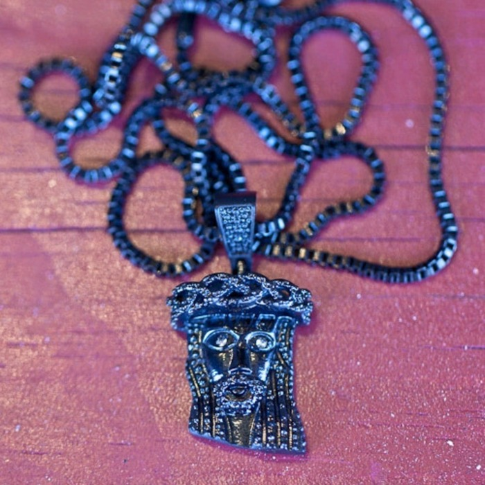 [디자인바이티에스에스]Design By TSS MINI JESUS NECKLACE - GUNMETAL BLACK - 풋셀스토어