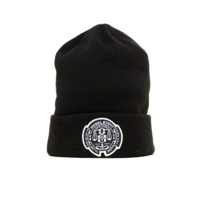 [레벨에잇]REBEL8 UNTIL DEATH Cuffed Beanie (BLACK - 풋셀스토어