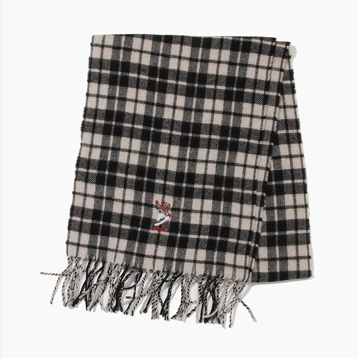 [폴로] POLO Bear Embroidered Plaids Scarf Black/Cream Tartan, 스카프, 목도리 - 풋셀스토어