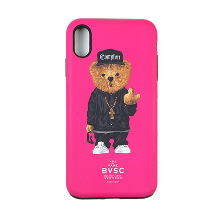 스티그마 STIGMA PHONE CASE COMPTON BEAR PINK iPHONE Xs / Xs MAX / Xr - 풋셀스토어
