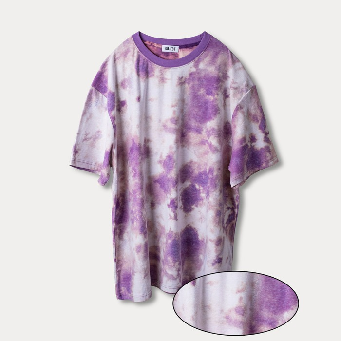 오브젝트 TIE DYE REVERSIBLE OVERSIZED T-SHIRT (PURPLE) - 풋셀스토어